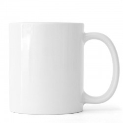 Photo d'un mug en céramique blanc.