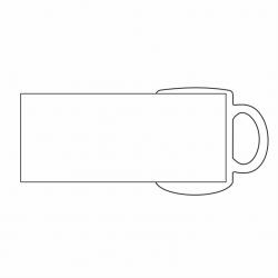 Dessin d'un mug blanc montrant la zone tout autour du mug pouvant être personnalisée.