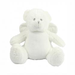 Photo de la peluche range-pyjama ourson blanc avec des ailes d'ange.