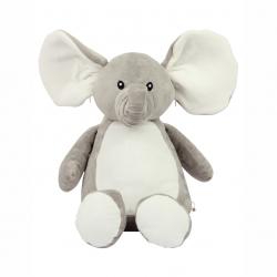 Photo de la peluche range-pyjama éléphant grise et blanche.