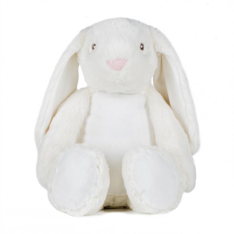 Photo de la peluche range-pyjama lapin blanche.