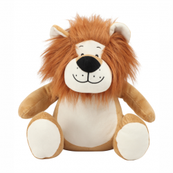 Photo de la peluche range-pyjama lion marron.