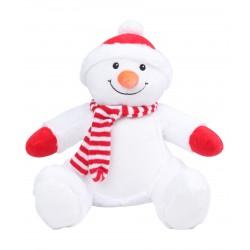 Photo de la peluche range-pyjama bonhomme de neige rouge et blanche.