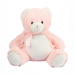 Photo de la peluche range-pyjama ours rose.