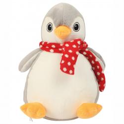 Photo de la peluche range-pyjama pingouin gris avec une écharpe rouge.