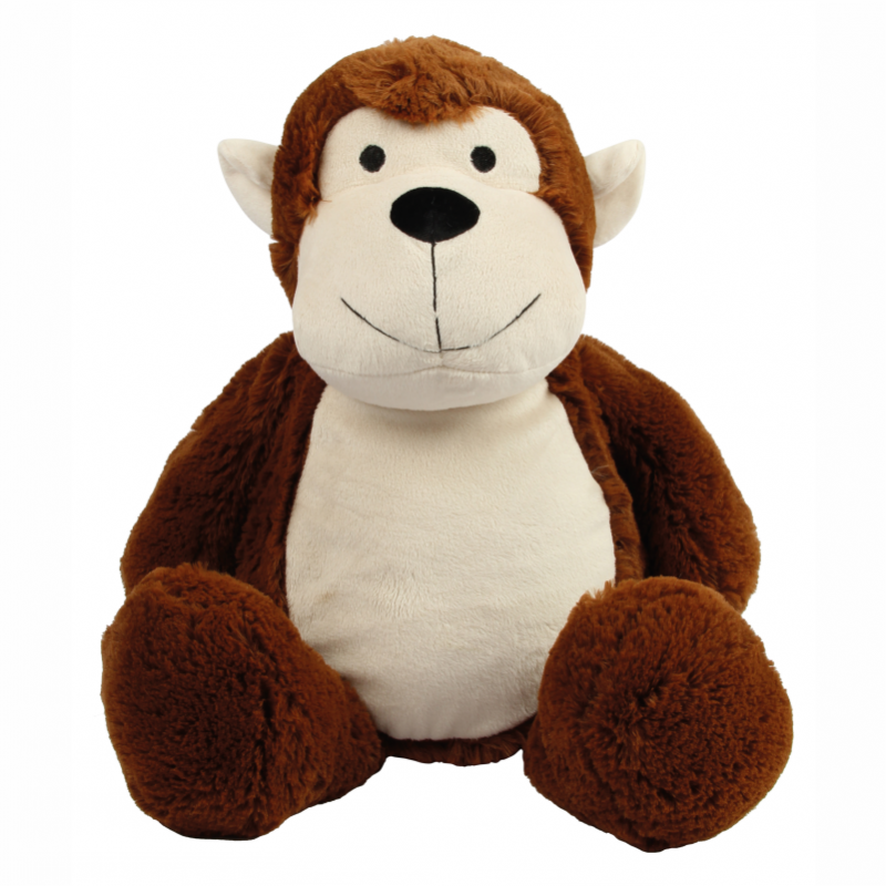 Photo de la peluche range-pyjama singe marron.