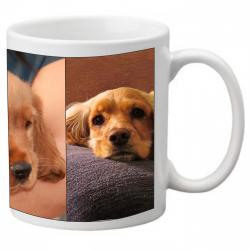 Photo du mug blanc avec trois photos de chiens en exemple sur la surface.